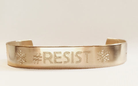 "#RESIST Golden Brass Bracelet, 1/2"" Wide - Engraved or Hand Stamped (other metals available)"