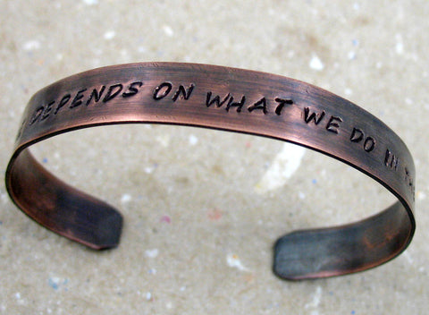 "Custom Copper Stamped Bracelet with Antiqued Patina - 3/8"" wide Unisex Adjustable Cuff"