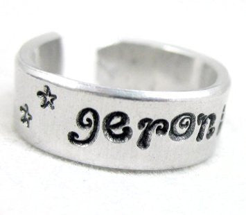 "Geronimo! - 1/4"" Aluminum Handstamped Ring - Doctor Who Inspired"