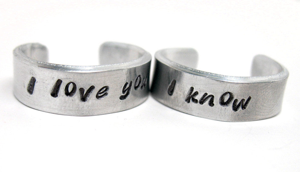 "Leia/Han ""I Love You""/""I Know"" - Aluminum Rings"
