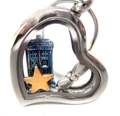 Doctor's Heart - Steel Doctor Who Floating Locket