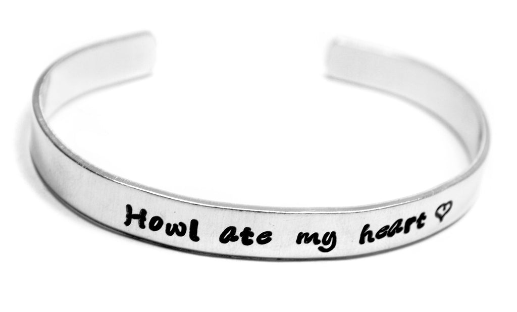 "Howl Ate My Heart- Hand Stamped 1/4"" Aluminum Bracelet - Howl's Moving Castle Inspired"