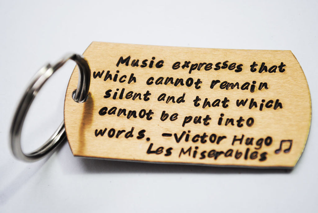 Victor Hugo Keychain - Music Expresses That Which Cannot Be Put Into Words - Les Miserables - Golden Bronze Anodized Aluminum Brushed Keychain