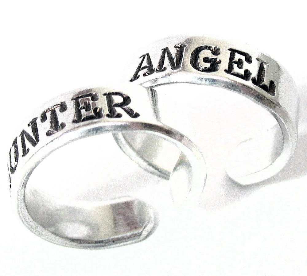 Angel / Hunter - Hand Stamped, Supernatural Inspired Aluminum Ring Pair