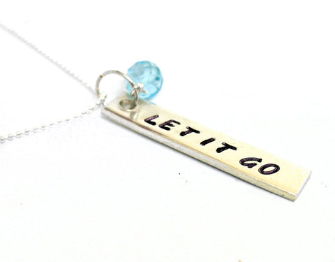 Let it Go - Sterling Silver Pendant w/Genuine Swiss Blue Topaz