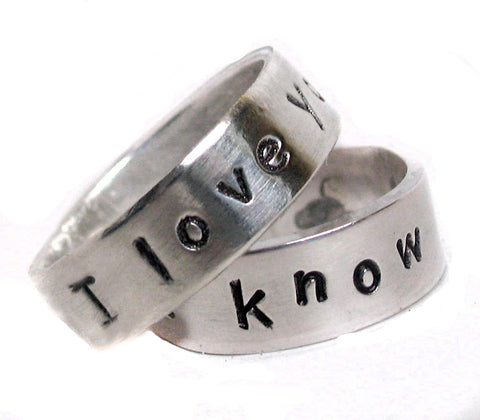 I Love You / I Know Ring Pair - Sterling Silver Bands