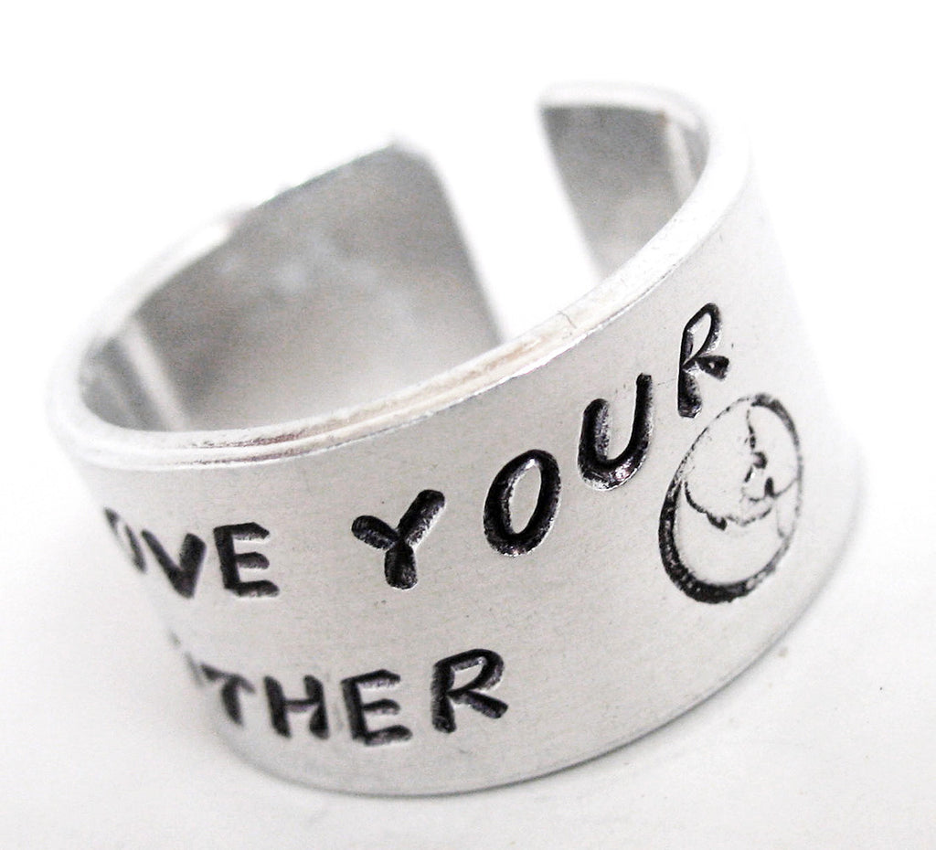 "Love Your Mother - Handsamped 1/2"" Aluminum Ring"