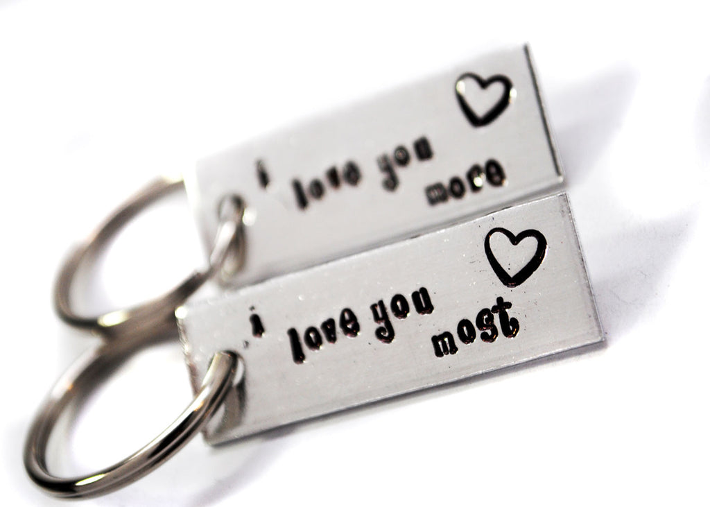 I Love You Most, I Love You More - Handstamped Aluminum Keychain Set