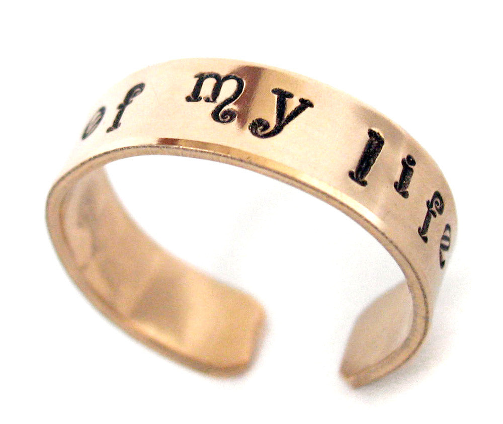 Moon of My Life - Hand Stamped 14k Gold Filled Ring, Adjustable