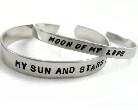 ASOIAF Bracelets - My Sun and Stars, Moon of my Life - a Pair of Hand Stamped Bracelets