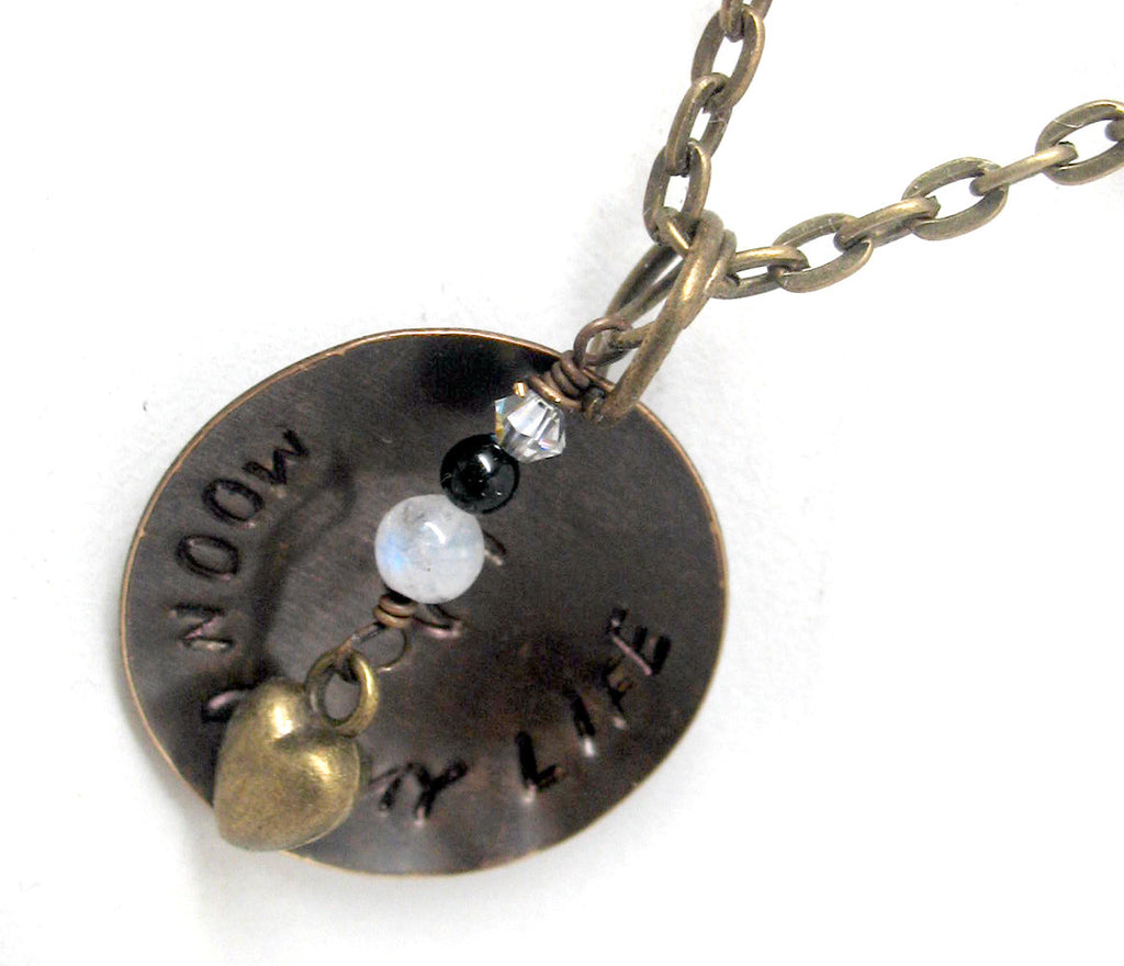 Moon of My Life - Antiqued Brass Disc Pendant w/Swarovski Crystal