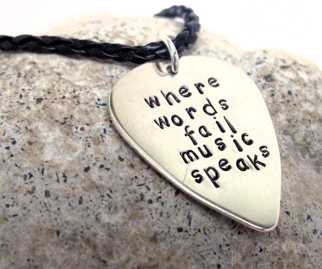Where Words Fail, Music Speaks - Sterling Silver Guitar Pick Pendant