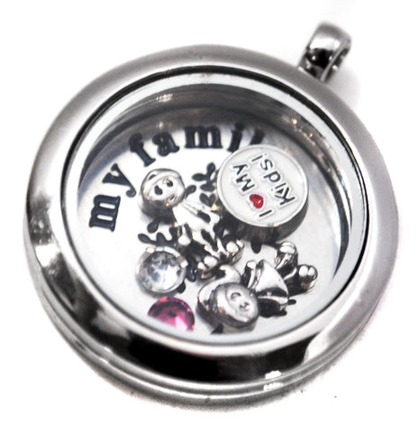I Love My Kids - Stainless Steel Floating Locket