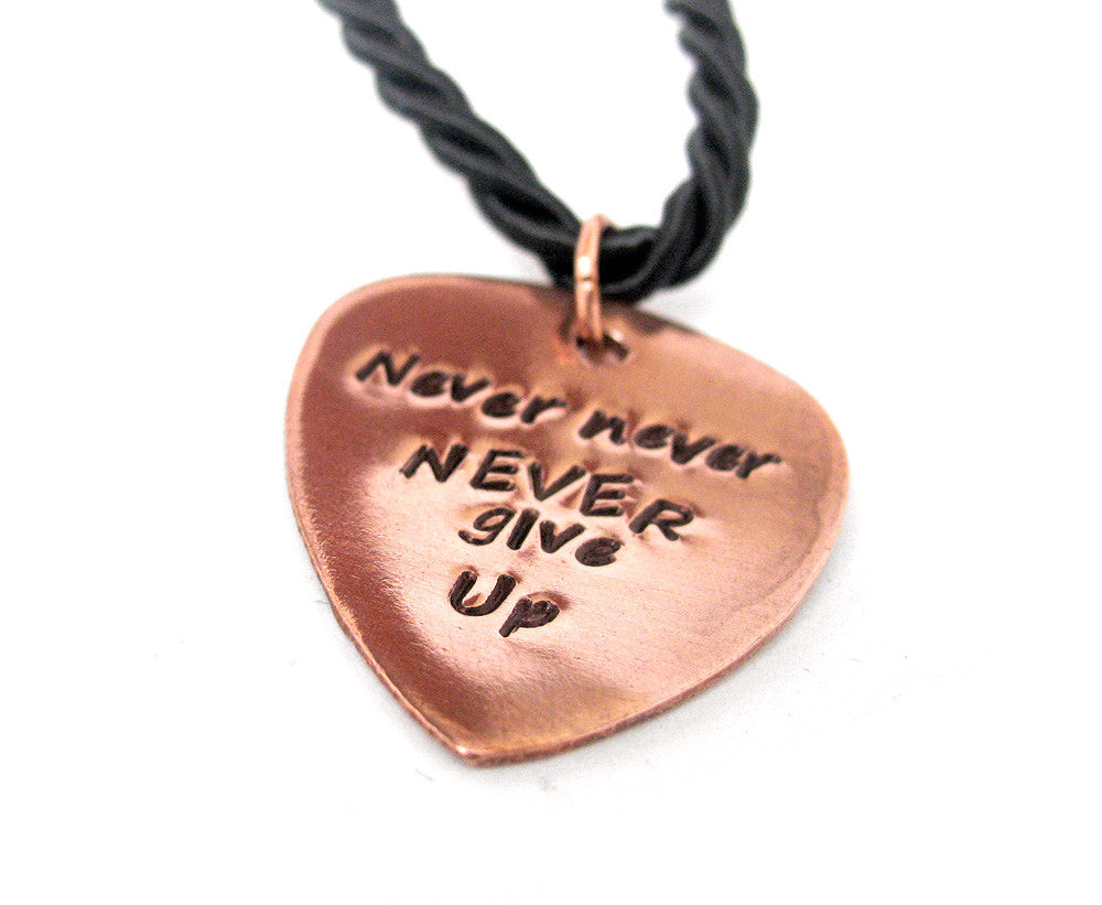 Never never never give up hand stamped copper guitar pick pendant never never never give up hand stamped copper guitar pick pendant winston aloadofball Images