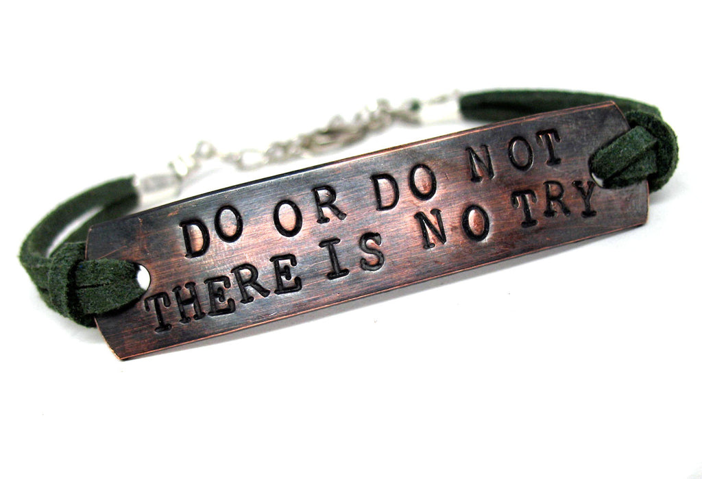 Do, or Do Not - Star Wars Antiqued Copper ID Bracelet w/Suede Cord