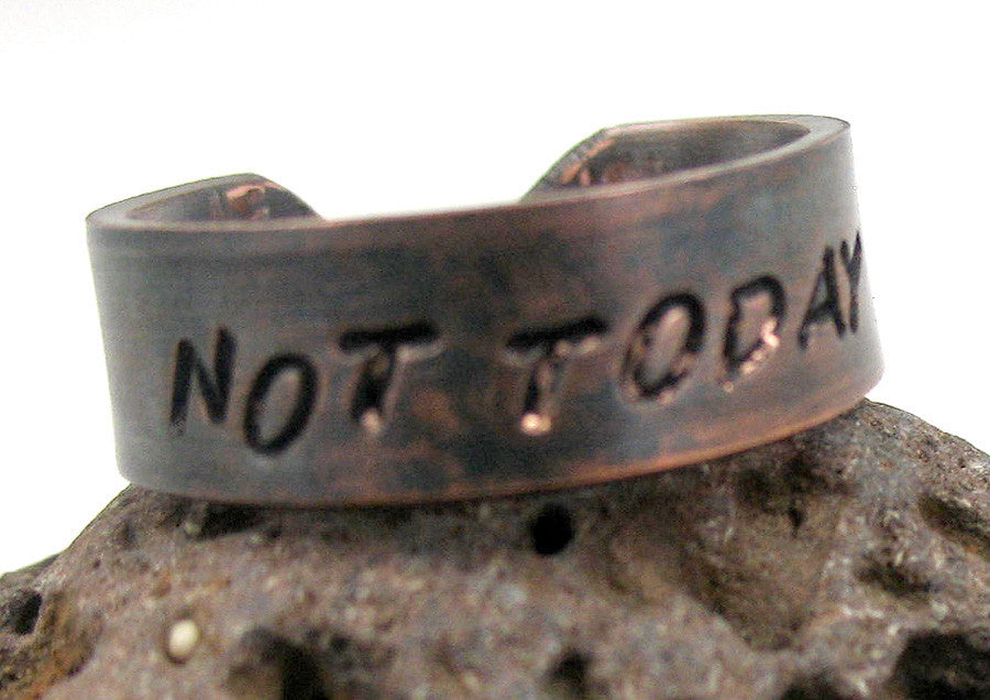 Custom Stamped Copper Ring with Antiqued Finish, Handcrafted With Your Personalization