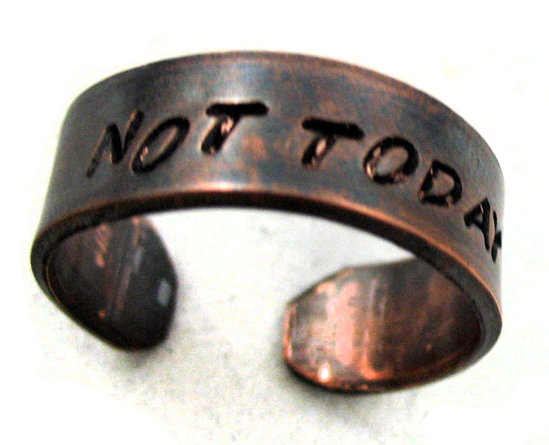 Not Today - Antiqued Copper Ring