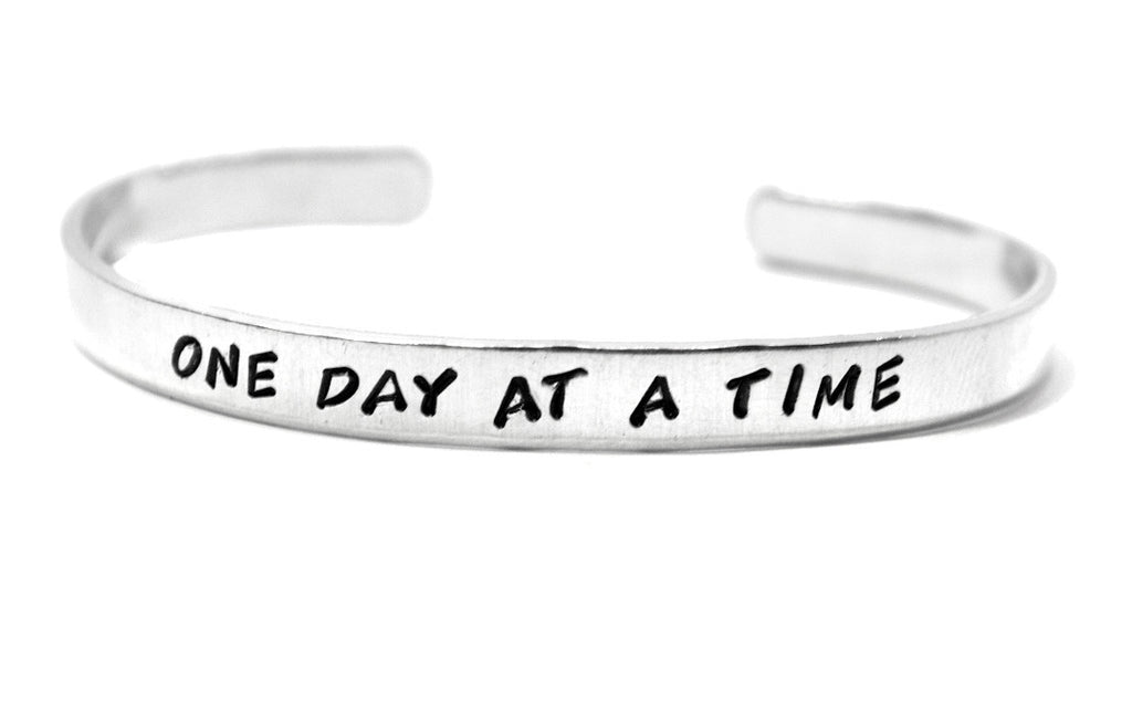 One Day At a Time - Stamped Aluminum Cuff Bracelet
