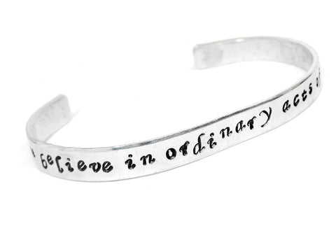 "We Believe In Ordinary Acts of Bravery - 1/4"" Handstamped Aluminum Bracelet, Divergent Inspired"