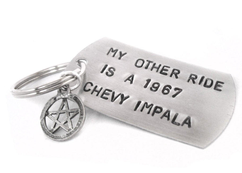 My Other Ride Is A 1967 Chevy Impala - Aluminum Handstamped Dog Tag Keychain with Pentagram Charm
