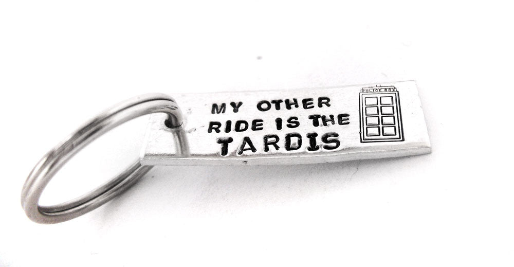 Mini Keychain - My Other Ride Is the Tardis - Aluminum Keychain w/Tardis