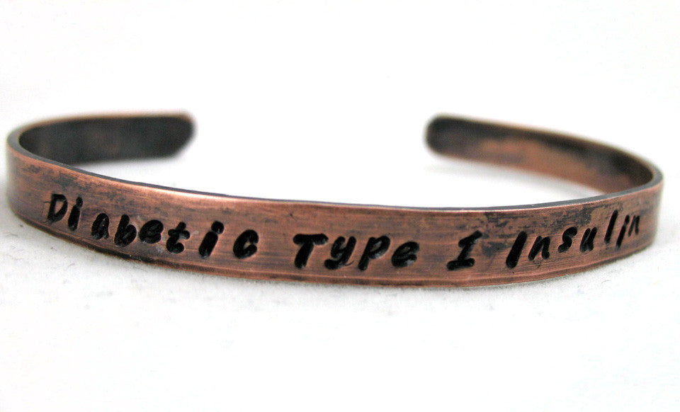 "Type 1 Diabetes Insulin Medical Alert 1/4"" Antiqued Copper Bracelet - Hand Stamped Jewelry"