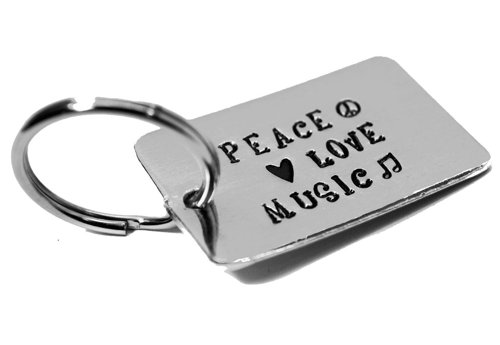 Peace, Love, Music - Handstamped Aluminum Medium Keychain