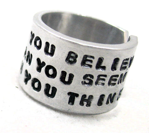 "Braver Than You Believe - Handstamped Wide 1/2"" Aluminum Ring - Winnie The Pooh Inspired"