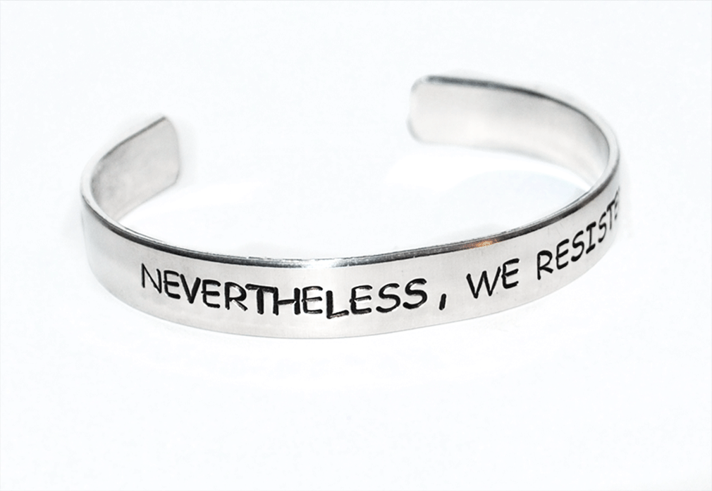 "#RESIST  Bracelet, 1/4"" Wide Hand Stamped"