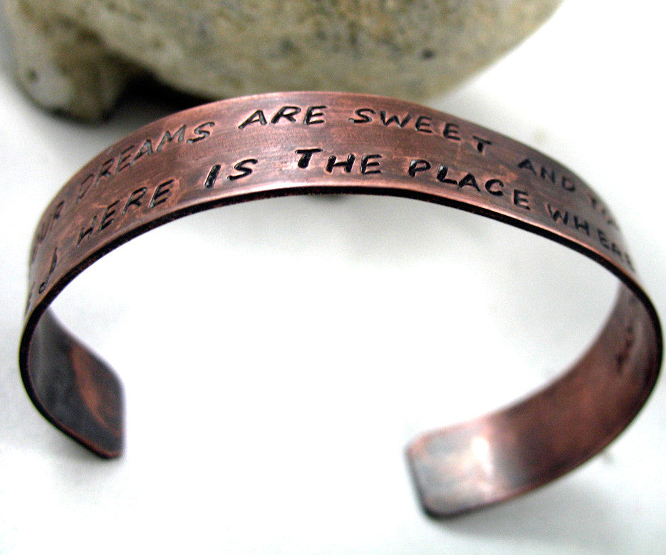 "Custom, Handstamped Bracelet -  Antiqued Copper Cuff, 1/2"" Wide - Up to Two Lines of Text"