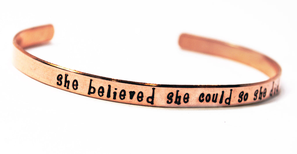 She Believed She Could So She Did - Hand Stamped Skinny Copper Bracelet, Popular Graduation Gift!