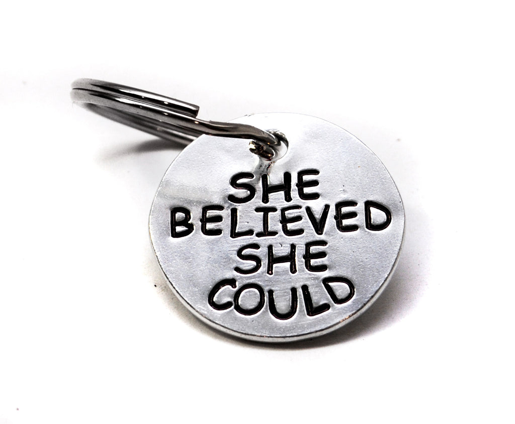 She Believed She Could So She Did - Hand Stamped Double Sided Keychain Popular Graduation Gift!