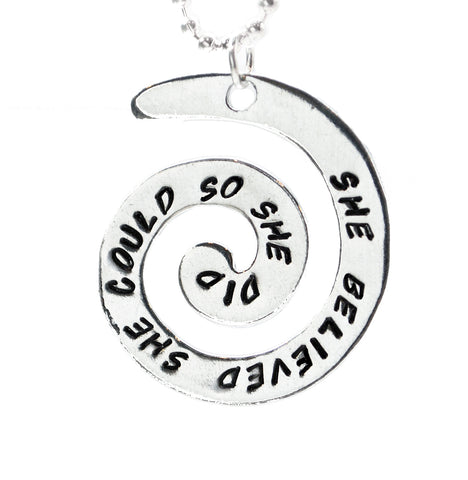 She Believed She Could So She Did - Hand Stamped Aluminum Spiral Necklace, Great Graduation Gift!