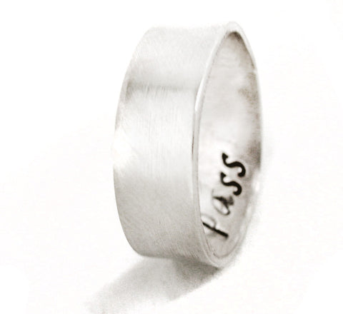 "Secret Message Sterling Silver 1/4"" Ring - Hand Stamped Solid Band with Hidden Customization"