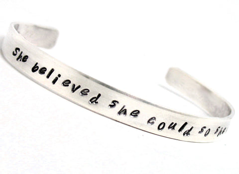 She Believed She Could So She Did - Narrow Sterling Silver Hand Stamped Bracelet