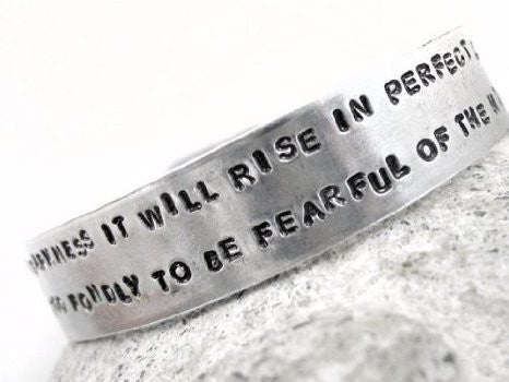 "I Have Loved The Stars Too Fondly To Be Fearful of The Night - Hand Stamped 1/2"" Aluminum Bracelet"