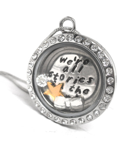 We're All Stories In the End... - Stainless Steel Locket w/Rhinestones