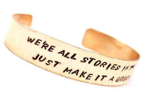 "Custom Hand Stamped Golden Brass Bracelet, 1/2"" Wide, for Up to Two Lines of Text"
