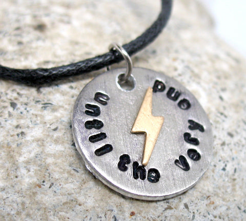 Until the Very End - Aluminum Pendant w/Lightning Bolt