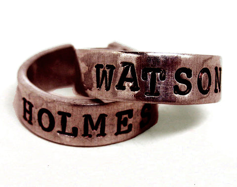 Holmes / Watson - Hand Stamped, Sherlock Inspired Antiqued Copper Ring Pair