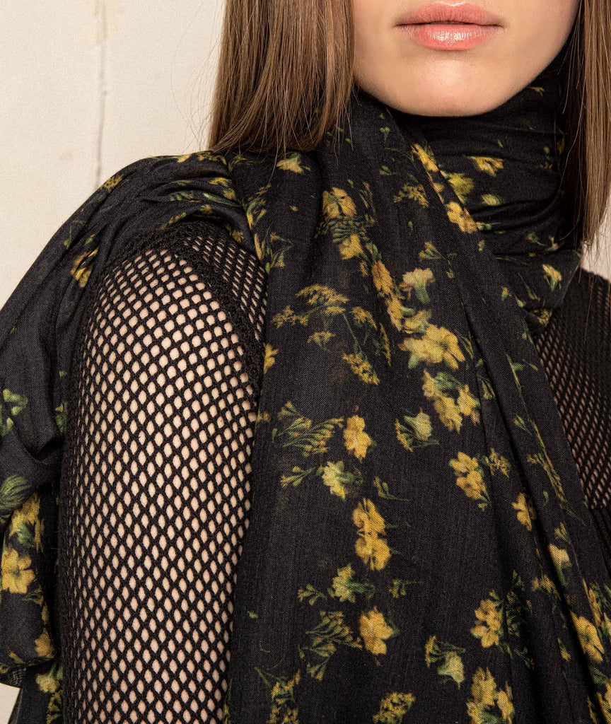 Black and Yellow Floral Scarf