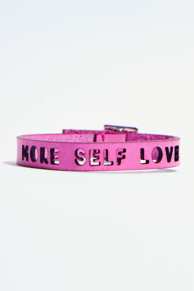 Fuchsia-Pink Leather Bracelet