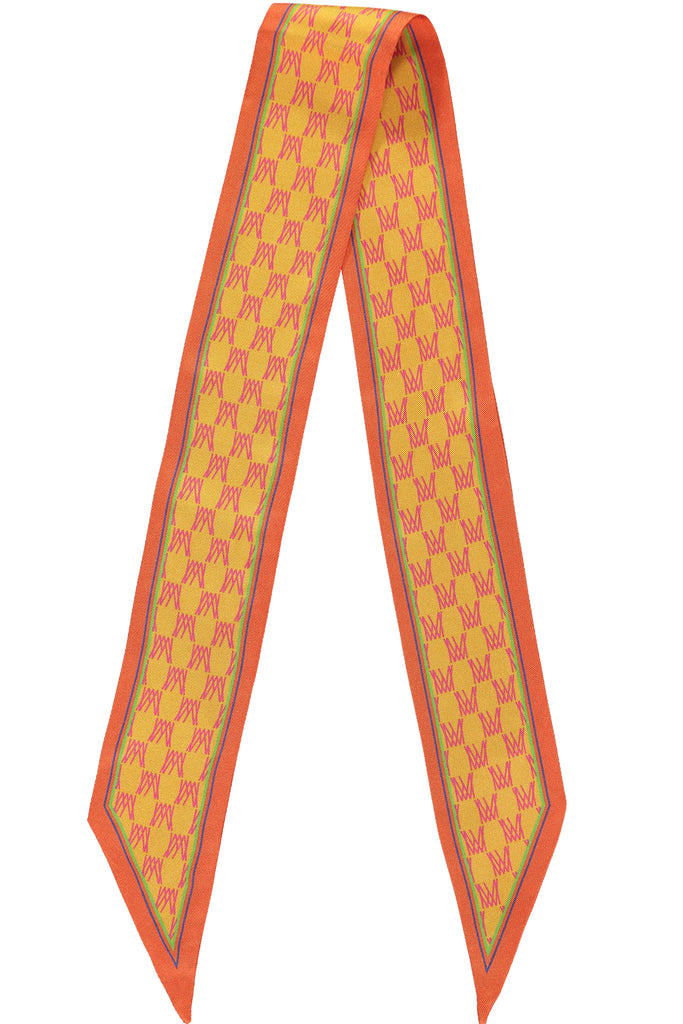 Orange Monogram Silk Scarf