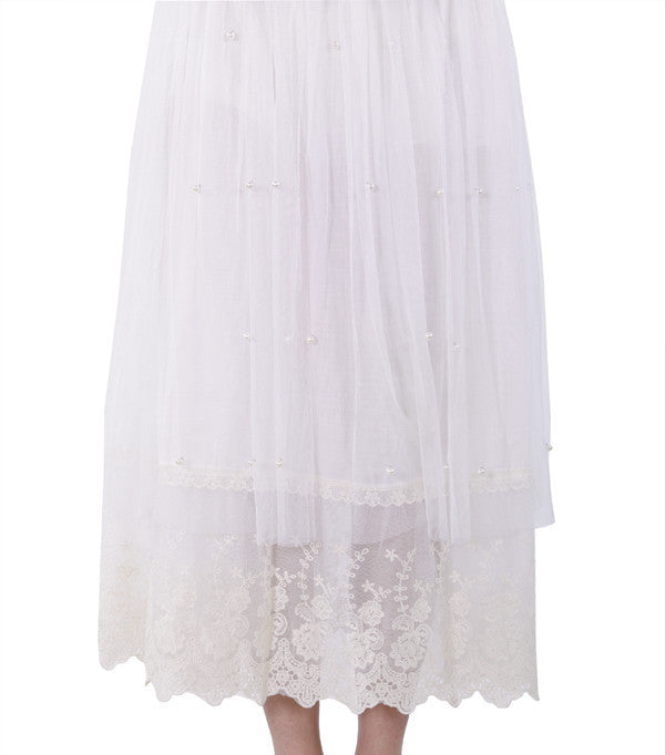 Net and Lace Layered Skirt with Pearl Details