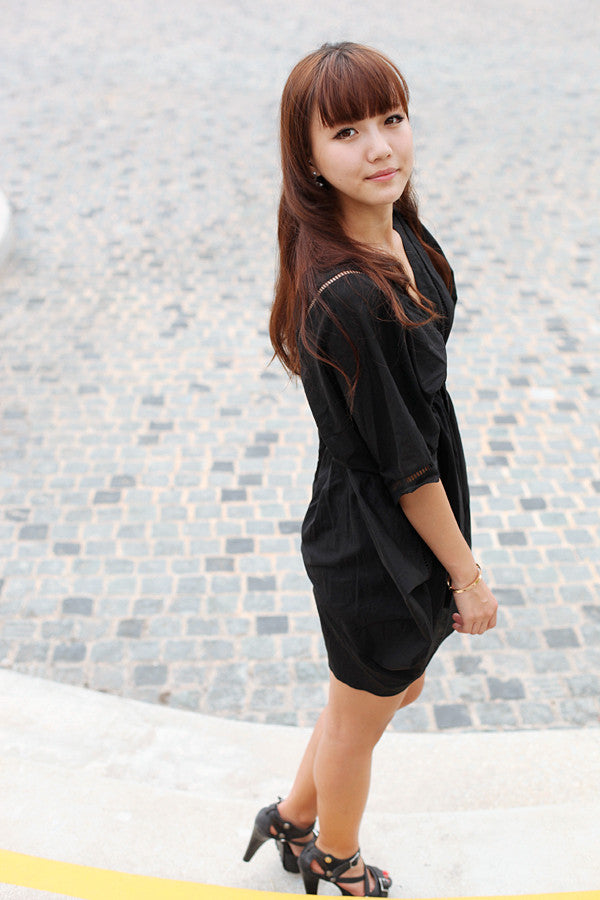 Black Butterfly Dress with Cut-outs