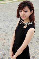 Keyhole Dress with Leopard Print Collar