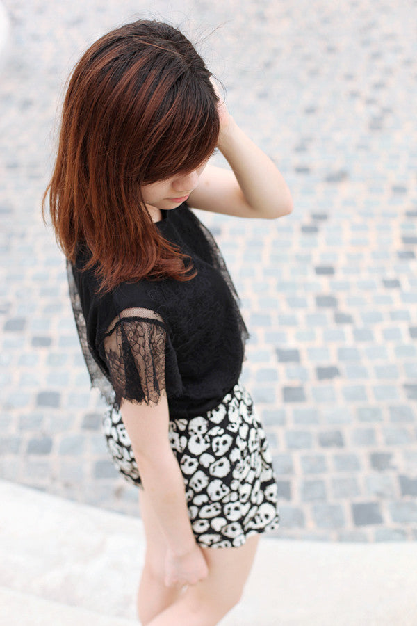 Lace Blouse with Flutter Sleeves