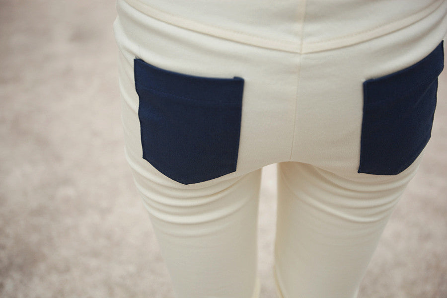 Skinny Pants with Colour-block Detail