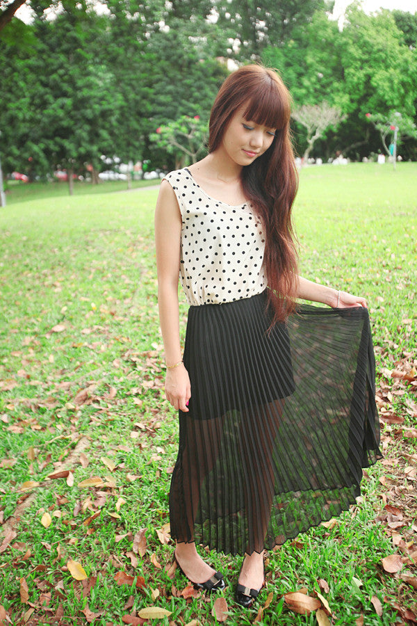 Dress with Polka Dots and Pleated Bottom