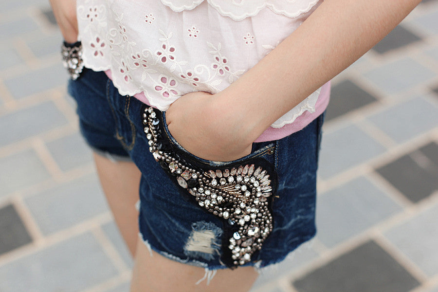 Beaded and Bejewelled Denim Hot Shorts